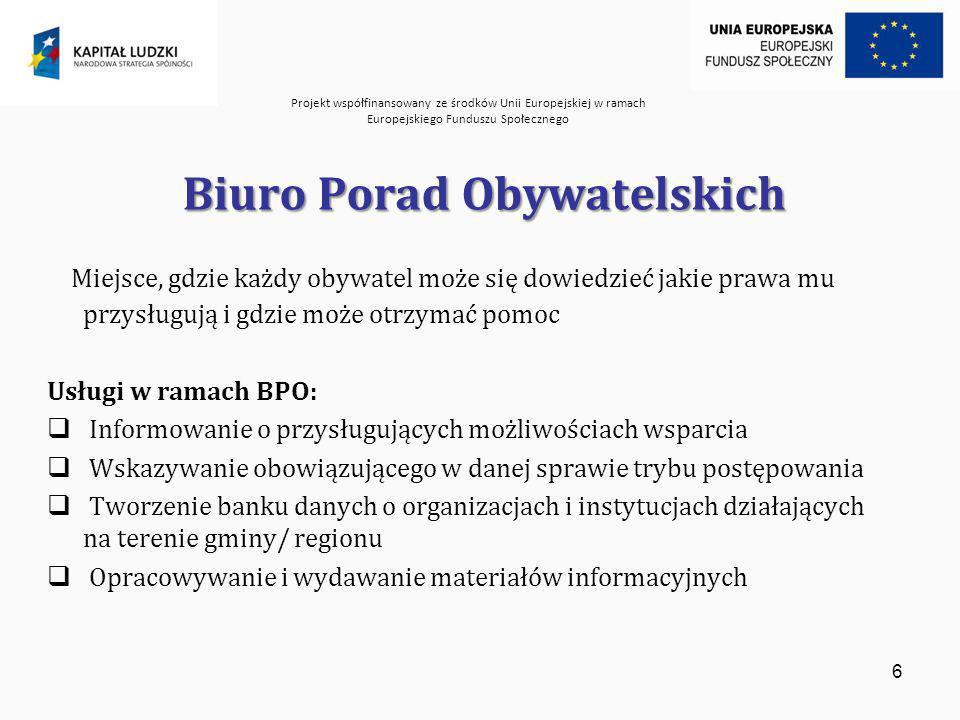 Projekt współfinansowany ze środków Unii Europejskiej w ramach Europejskiego Funduszu Społecznego 6 Biuro Porad Obywatelskich Miejsce, gdzie każdy obywatel może się dowiedzieć jakie prawa mu przysługują i gdzie może otrzymać pomoc Usługi w ramach BPO: Informowanie o przysługujących możliwościach wsparcia Wskazywanie obowiązującego w danej sprawie trybu postępowania Tworzenie banku danych o organizacjach i instytucjach działających na terenie gminy/ regionu Opracowywanie i wydawanie materiałów informacyjnych
