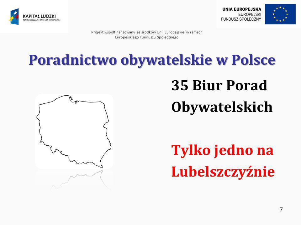 Projekt współfinansowany ze środków Unii Europejskiej w ramach Europejskiego Funduszu Społecznego 8 Cele Projektu: Cel główny: Zwiększenie dostępu obywateli do poradnictwa obywatelskiego i prawnego Cele szczegółowe: zwiększenie ilości biur porad obywatelskich i prawnych na terenie Lubelszczyzny w powiatach lubelskim, łukowskim oraz hrubieszowskim, szerzenie idei społeczeństwa obywatelskiego, promowanie współpracy z samorządem terytorialnym w zakresie poradnictwa