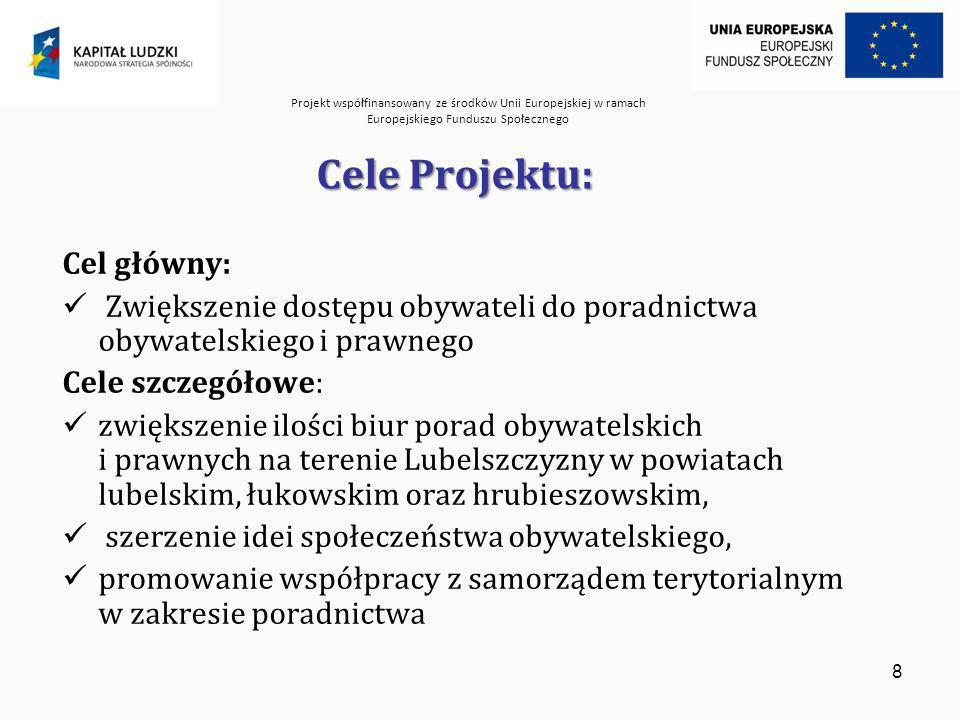 Projekt współfinansowany ze środków Unii Europejskiej w ramach Europejskiego Funduszu Społecznego 9 Grupa docelowa Projektu Projekt jest skierowany głównie do mieszkańców powiatów: lubelskiego, hrubieszowskiego, łukowskiego