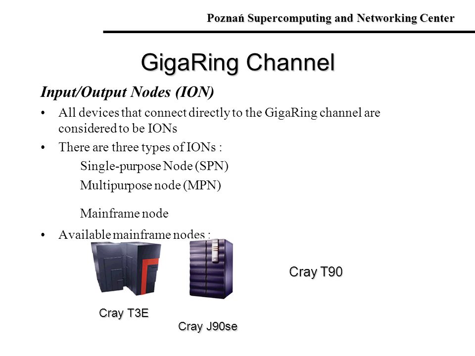 Input/Output Nodes (ION) All devices that connect directly to the GigaRing channel are considered to be IONs There are three types of IONs : Single-pu