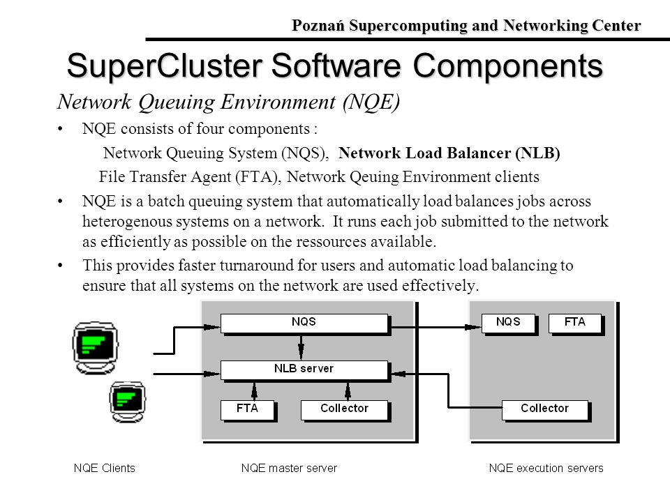 Network Queuing Environment (NQE) NQE consists of four components : Network Queuing System (NQS), Network Load Balancer (NLB) File Transfer Agent (FTA