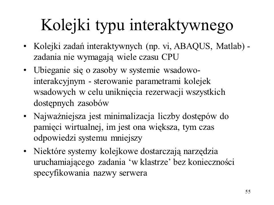 55 Kolejki typu interaktywnego Kolejki zadań interaktywnych (np.