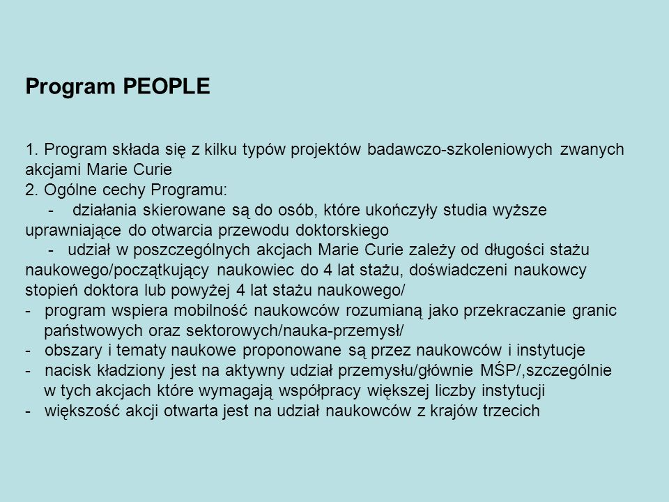 Program PEOPLE 1.