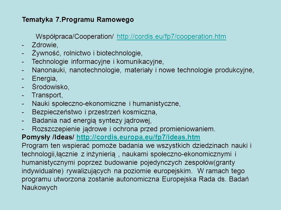 Ludzie/People/ http://cordis.europa.eu/fp7/people.htmhttp://cordis.europa.eu/fp7/people.htm Program jest kontynuacją programu Marie Curie z 6 Programu Ramowego.