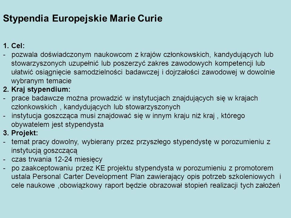 Stypendia Europejskie Marie Curie 1.