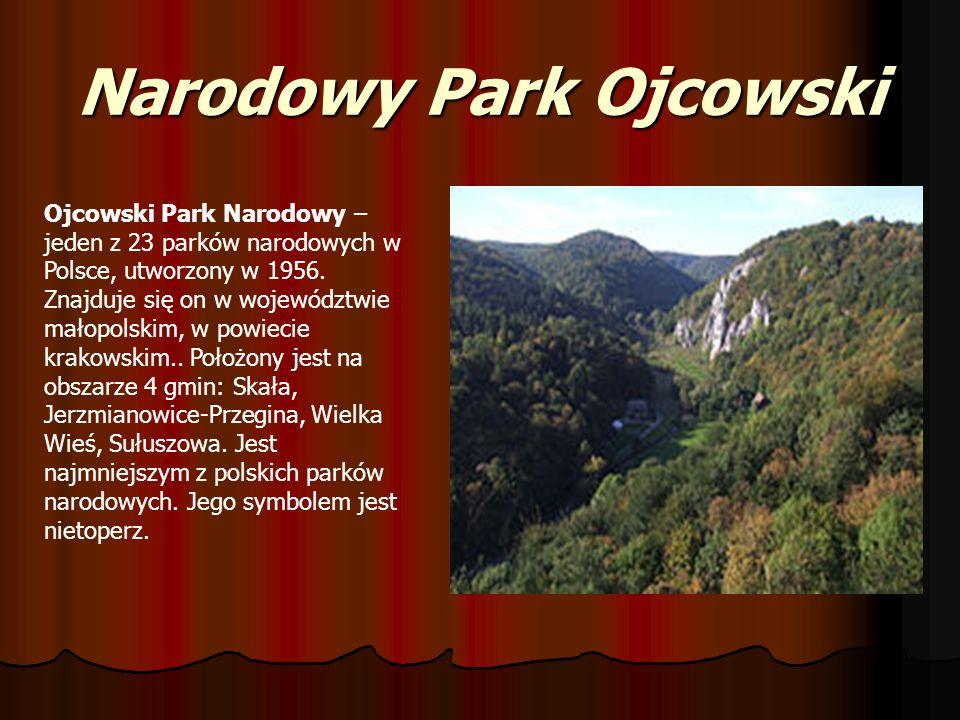 Narodowy Park Ojcowski Ojcowski Park Narodowy – jeden z 23 parków narodowych w Polsce, utworzony w 1956. Znajduje się on w województwie małopolskim, w