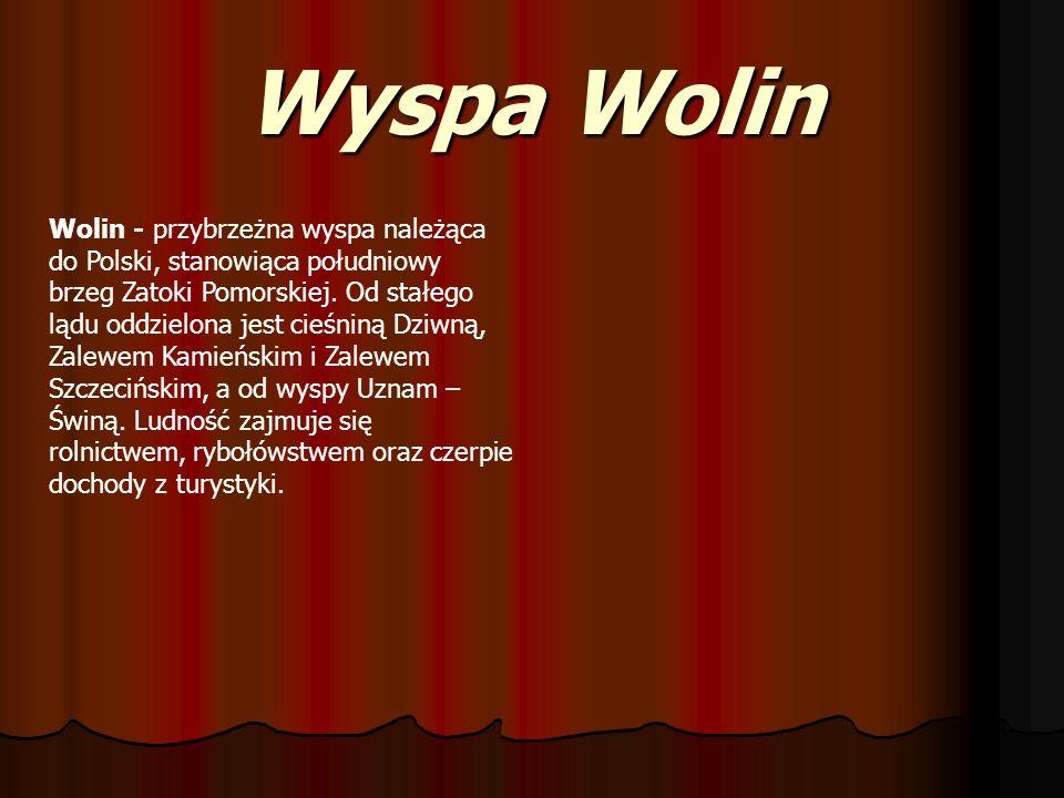 Wyspa Wolin Wolin - przybrzeżna wyspa należąca do Polski, stanowiąca południowy brzeg Zatoki Pomorskiej. Od stałego lądu oddzielona jest cieśniną Dziw