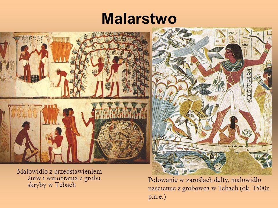Malarstwo Malowidło z przedstawieniem żniw i winobrania z grobu skryby w Tebach Polowanie w zaroślach delty, malowidło naścienne z grobowca w Tebach (