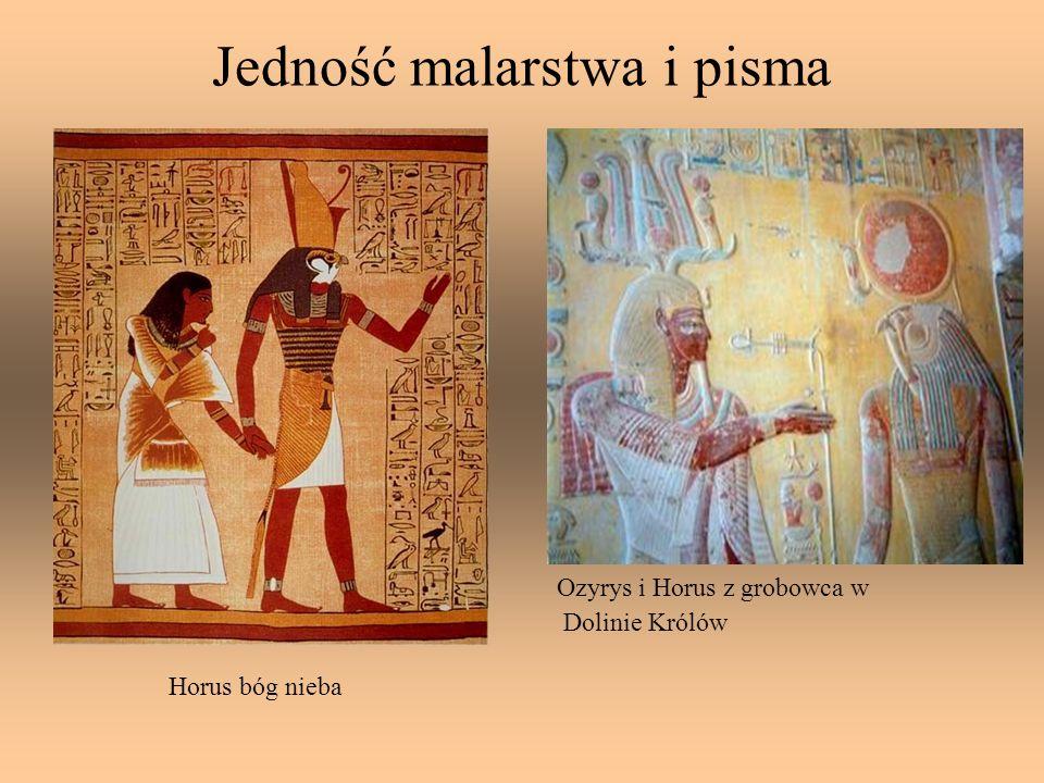 Jedność malarstwa i pisma Horus bóg nieba Ozyrys i Horus z grobowca w Dolinie Królów