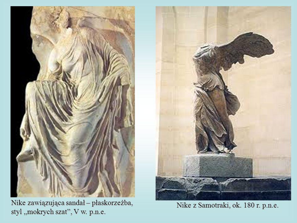 Nike zawiązująca sandał – płaskorzeźba, styl mokrych szat, V w. p.n.e. Nike z Samotraki, ok. 180 r. p.n.e.