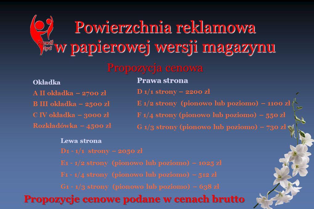 Powierzchnia reklamowa w papierowej wersji magazynu Okładka A II okładka – 2700 zł B III okładka – 2500 zł C IV okładka – 3000 zł Rozkładówka – 4500 z