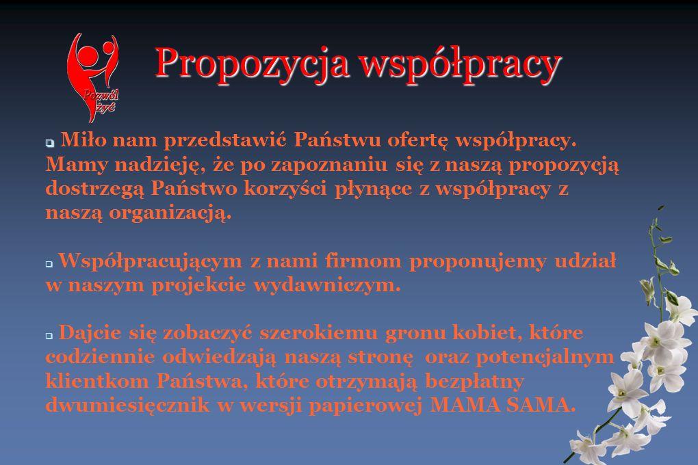Propozycja współpracy Miło nam przedstawić Państwu ofertę współpracy. Mamy nadzieję, że po zapoznaniu się z naszą propozycją dostrzegą Państwo korzyśc