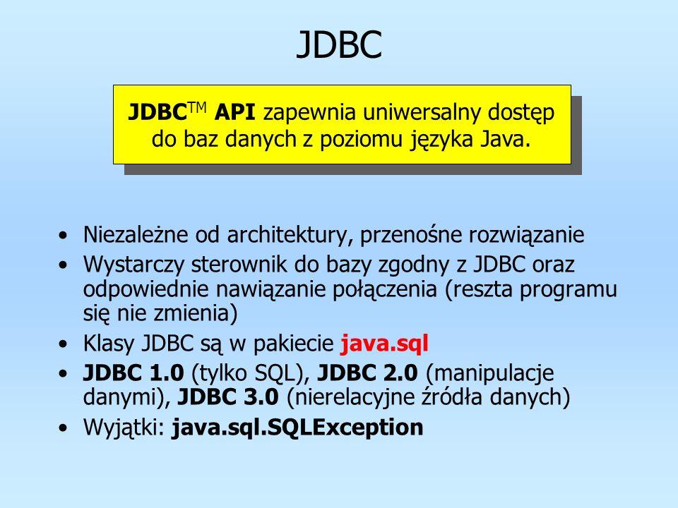 Architektura JDBC Java JDBC sterownik JDBC-Net most JDBC-ODBC sterownik firmy A sterownik firmy B API sterownika JDBC Protokół publiczny Prywatne protokoły dostępu do danych Implementacje alternatywne sterowniki ODBC, OLE DB JDBC API