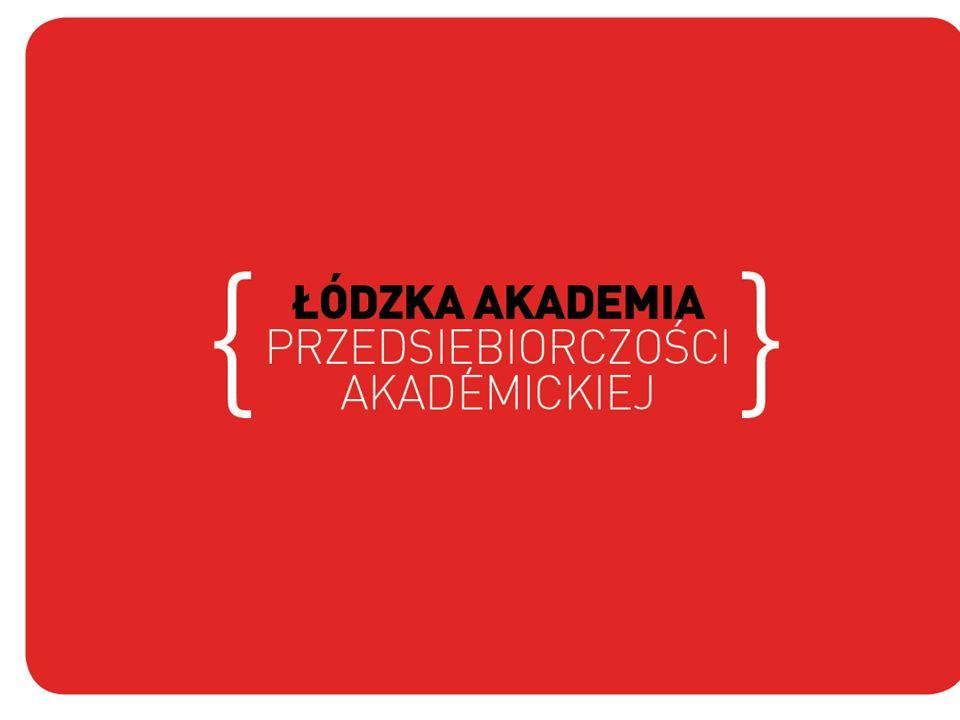 Łódzka Akademia Przedsiębiorczości Akademickiej Program skierowany do: studentów absolwentów doktorantów pracowników naukowych z łódzkich wyższych uczelni Pomysł na biznes – jak założyć i kierować firmą Wiedza z przedsiębiorczości, innowacji, marketingu Projekt współfinansowany ze środków Unii Europejskiej w ramach Europejskiego Funduszu Społecznego.