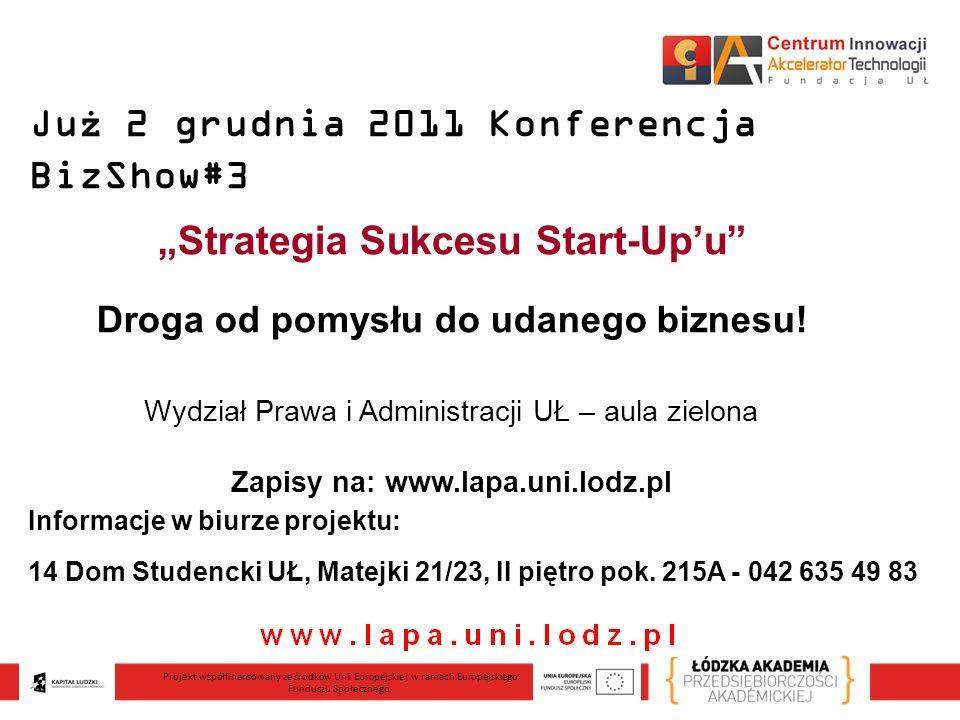 Już 2 grudnia 2011 Konferencja BizShow#3 Strategia Sukcesu Start-Upu Droga od pomysłu do udanego biznesu.