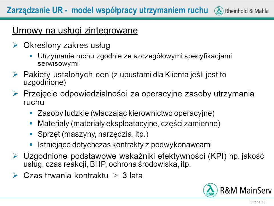 Strona 10 Umowy na usługi zintegrowane Określony zakres usług Utrzymanie ruchu zgodnie ze szczegółowymi specyfikacjami serwisowymi Pakiety ustalonych cen (z upustami dla Klienta jeśli jest to uzgodnione) Przejęcie odpowiedzialności za operacyjne zasoby utrzymania ruchu Zasoby ludzkie (włączając kierownictwo operacyjne) Materiały (materiały eksploatacyjne, części zamienne) Sprzęt (maszyny, narzędzia, itp.) Istniejące dotychczas kontrakty z podwykonawcami Uzgodnione podstawowe wskaźniki efektywności (KPI) np.