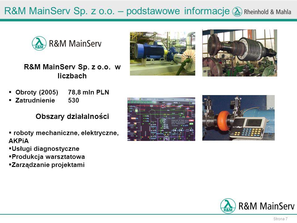 Strona 7 R&M MainServ Sp.z o.o. – podstawowe informacje R&M MainServ Sp.