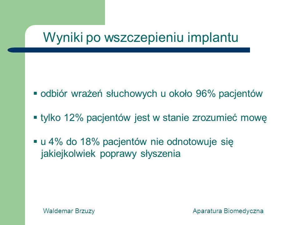 Waldemar Brzuzy Aparatura Biomedyczna Wyniki po wszczepieniu implantu odbiór wrażeń słuchowych u około 96% pacjentów tylko 12% pacjentów jest w stanie zrozumieć mowę u 4% do 18% pacjentów nie odnotowuje się jakiejkolwiek poprawy słyszenia