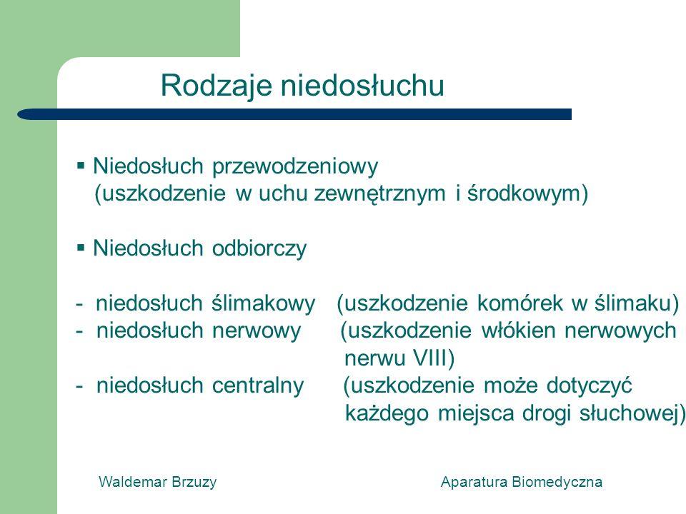 Rodzaje niedosłuchu Niedosłuch przewodzeniowy (uszkodzenie w uchu zewnętrznym i środkowym) Niedosłuch odbiorczy - niedosłuch ślimakowy (uszkodzenie komórek w ślimaku) - niedosłuch nerwowy (uszkodzenie włókien nerwowych nerwu VIII) - niedosłuch centralny (uszkodzenie może dotyczyć każdego miejsca drogi słuchowej)