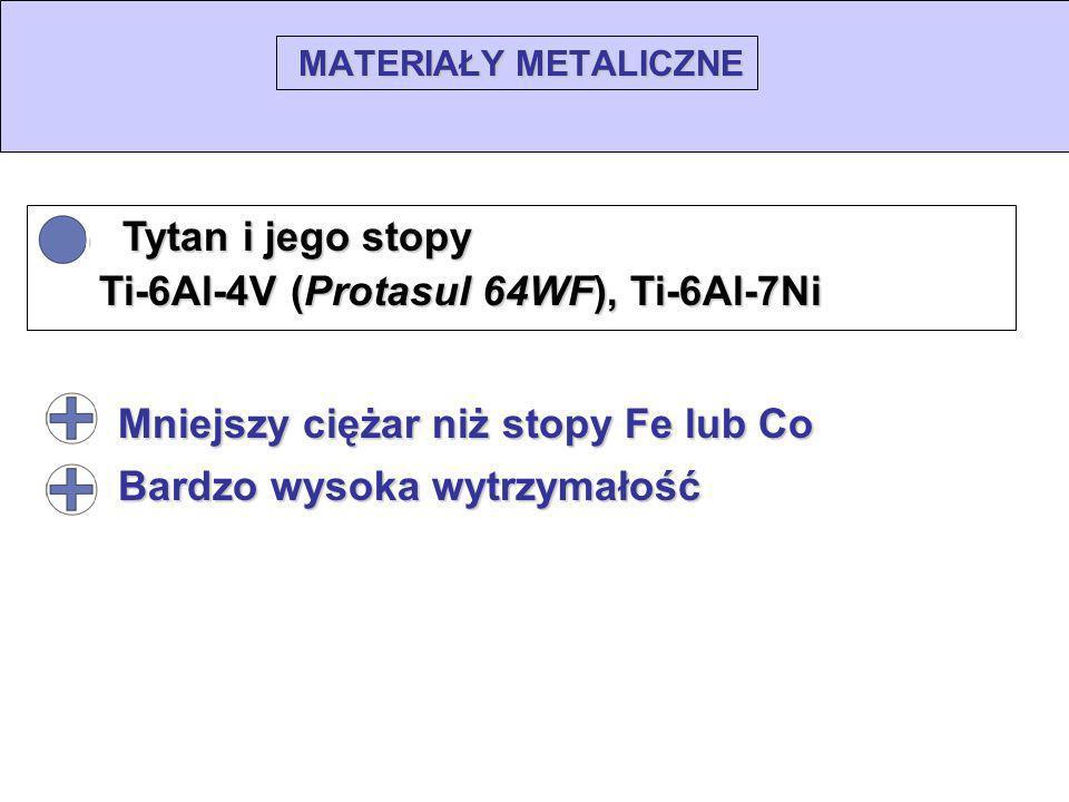 MATERIAŁY METALICZNE Tytan i jego stopy Tytan i jego stopy Ti-6Al-4V (Protasul 64WF), Ti-6Al-7Ni Ti-6Al-4V (Protasul 64WF), Ti-6Al-7Ni Mniejszy ciężar