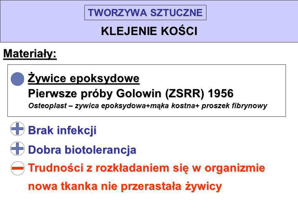 TWORZYWA SZTUCZNE KLEJENIE KOŚCI Materiały: Żywice epoksydowe Pierwsze próby Golowin (ZSRR) 1956 Osteoplast – zywica epoksydowa+mąka kostna+ proszek f