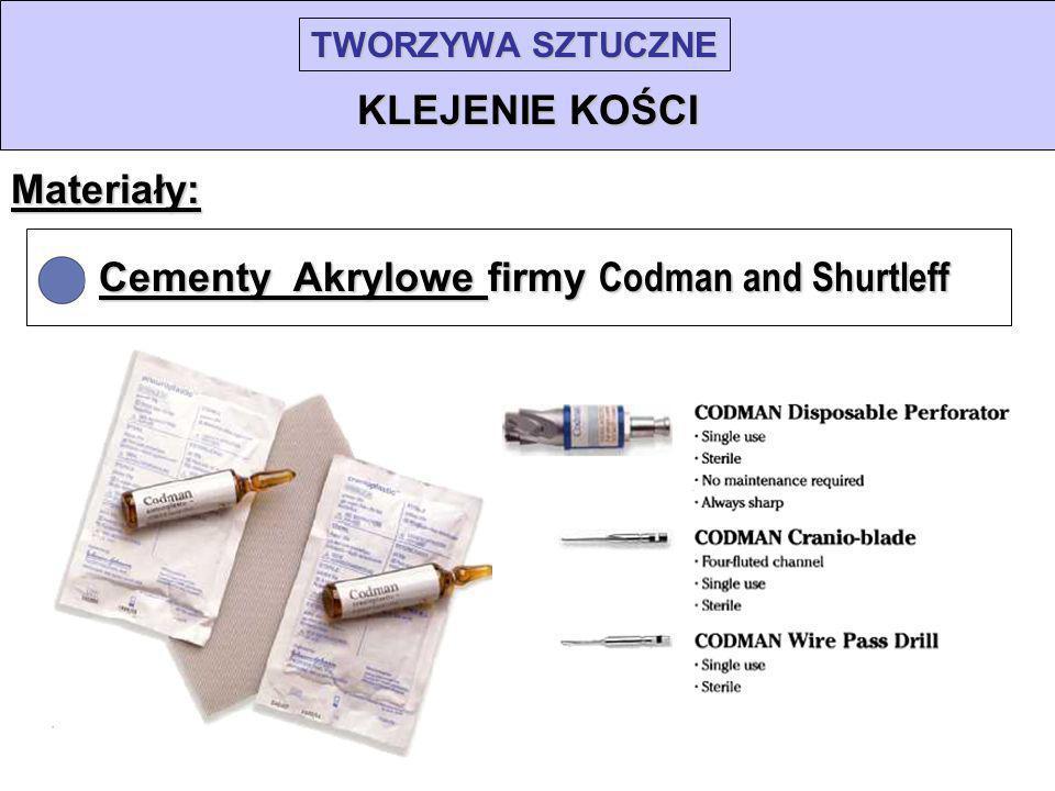 TWORZYWA SZTUCZNE KLEJENIE KOŚCI Materiały: Cementy Akrylowe firmy Codman and Shurtleff
