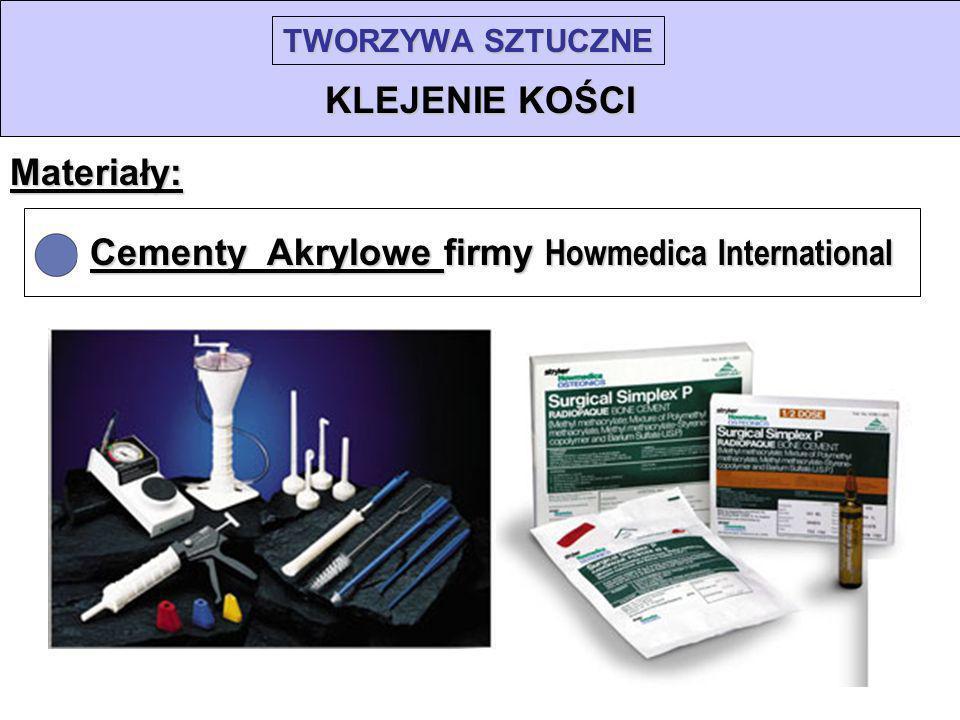 TWORZYWA SZTUCZNE KLEJENIE KOŚCI Materiały: Cementy Akrylowe firmy Howmedica International