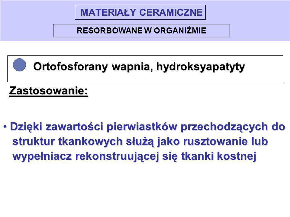 Ortofosforany wapnia, hydroksyapatyty Ortofosforany wapnia, hydroksyapatyty RESORBOWANE W ORGANIŹMIE Zastosowanie: Dzięki zawartości pierwiastków prze
