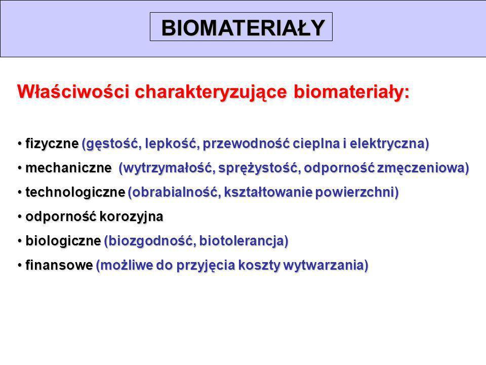 Właściwości charakteryzujące biomateriały: fizyczne (gęstość, lepkość, przewodność cieplna i elektryczna) fizyczne (gęstość, lepkość, przewodność ciep
