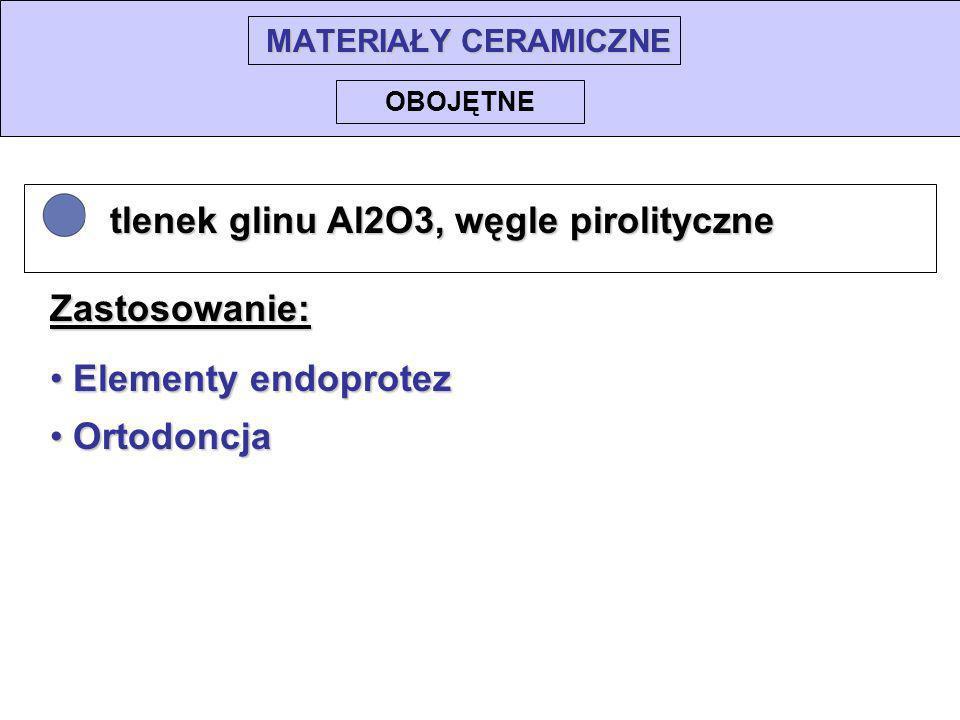 MATERIAŁY CERAMICZNE tlenek glinu Al2O3, węgle pirolityczne tlenek glinu Al2O3, węgle pirolityczne OBOJĘTNE Elementy endoprotez Elementy endoprotez Or