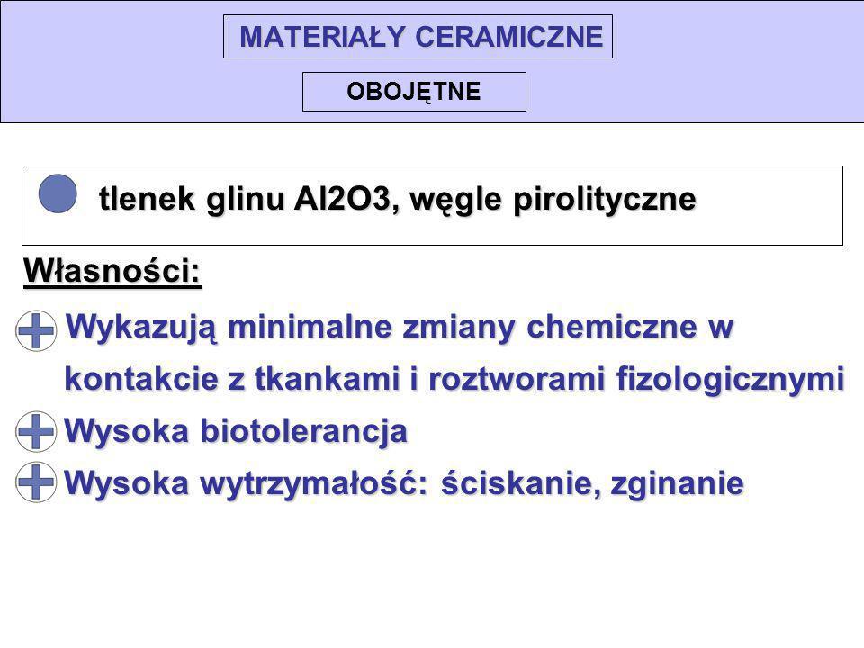 MATERIAŁY CERAMICZNE tlenek glinu Al2O3, węgle pirolityczne tlenek glinu Al2O3, węgle pirolityczne OBOJĘTNE Wykazują minimalne zmiany chemiczne w Wyka