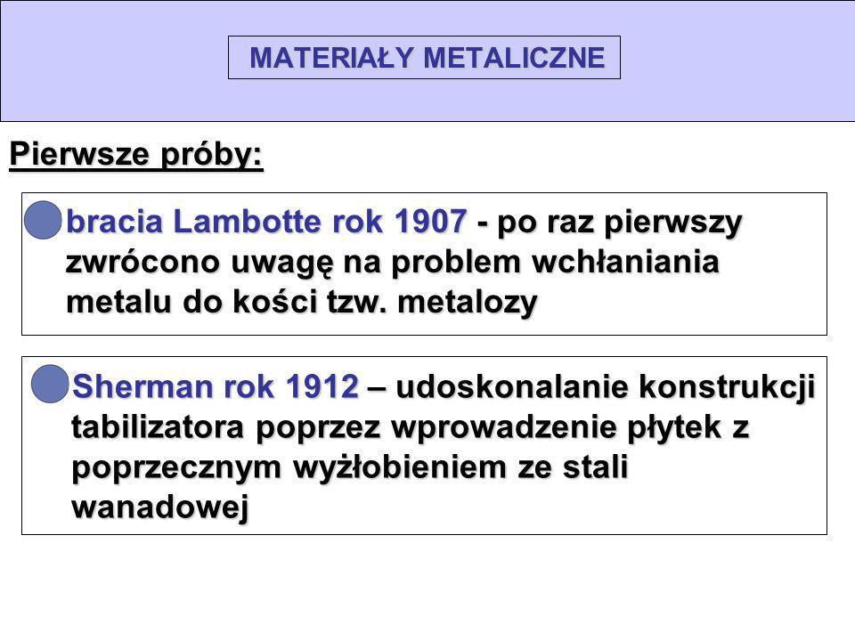 MATERIAŁY METALICZNE Pierwsze próby: bracia Lambotte rok 1907 - po raz pierwszy zwrócono uwagę na problem wchłaniania metalu do kości tzw. metalozy Sh