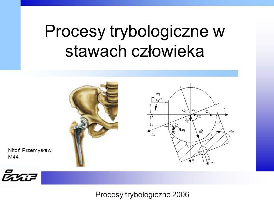 Cel prezentacji Celem prezentacji jest: przedstawienie procesów tribologicznych zachodzących podczas pracy stawów człowieka przybliżenie technik ich badania Procesy trybologiczne 2006
