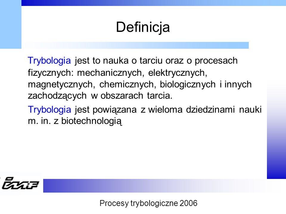 Definicja Trybologia jest to nauka o tarciu oraz o procesach fizycznych: mechanicznych, elektrycznych, magnetycznych, chemicznych, biologicznych i inn