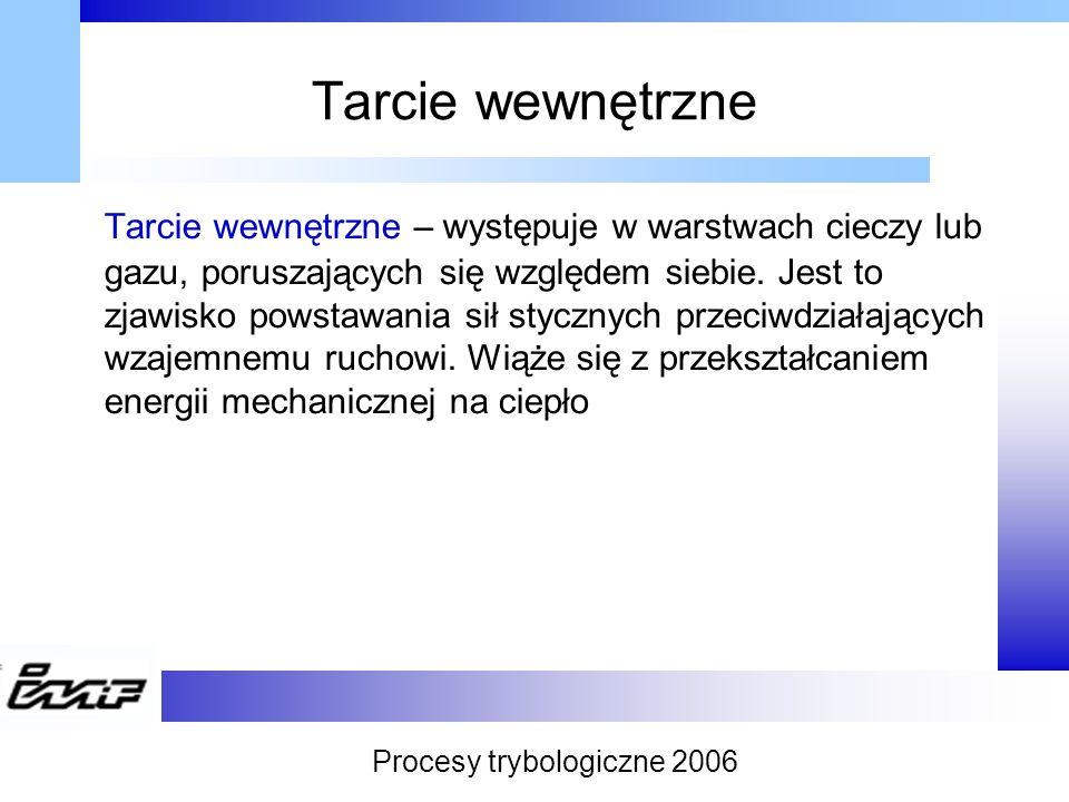 Tarcie zewnętrzne Tarcie zewnętrzne – występuje w płaszczyźnie zetknięcia się dwóch ciał stałych, ze względu na wzajemny ruch tych ciał względem siebie dzieli się na statyczne i dynamiczne Procesy trybologiczne 2006