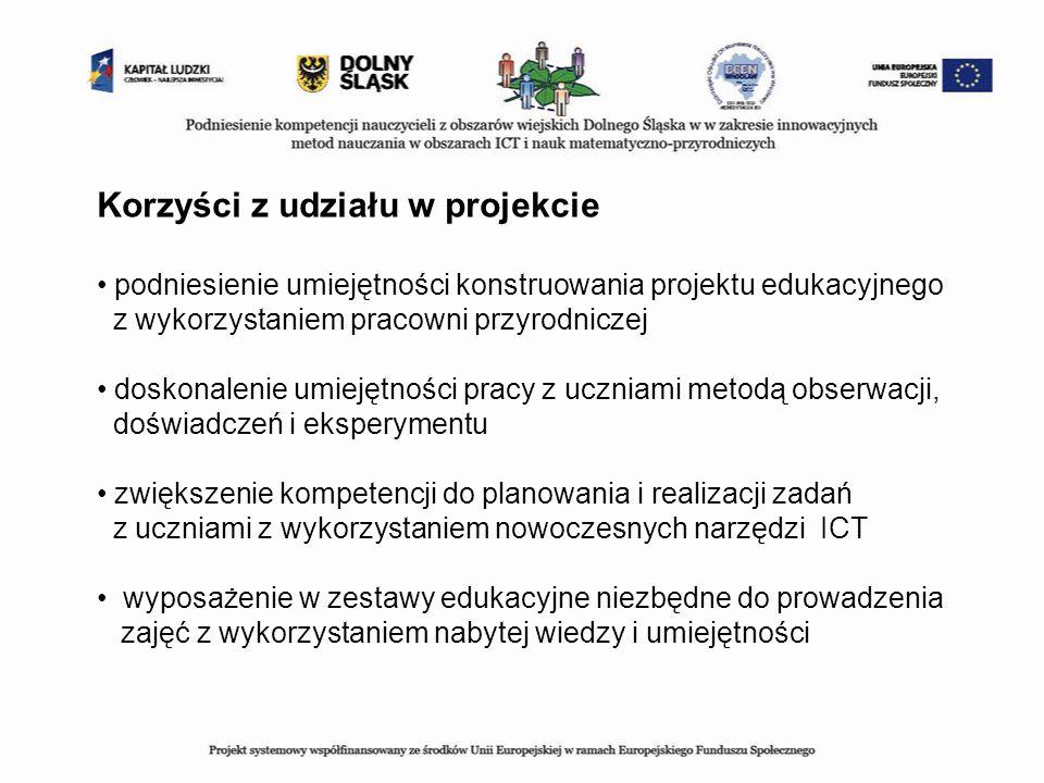 Korzyści z udziału w projekcie podniesienie umiejętności konstruowania projektu edukacyjnego z wykorzystaniem pracowni przyrodniczej doskonalenie umie