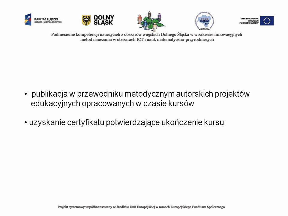 publikacja w przewodniku metodycznym autorskich projektów edukacyjnych opracowanych w czasie kursów uzyskanie certyfikatu potwierdzające ukończenie ku
