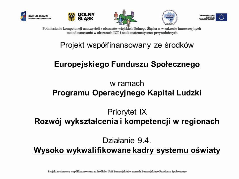Projekt współfinansowany ze środków Europejskiego Funduszu Społecznego w ramach Programu Operacyjnego Kapitał Ludzki Priorytet IX Rozwój wykształcenia