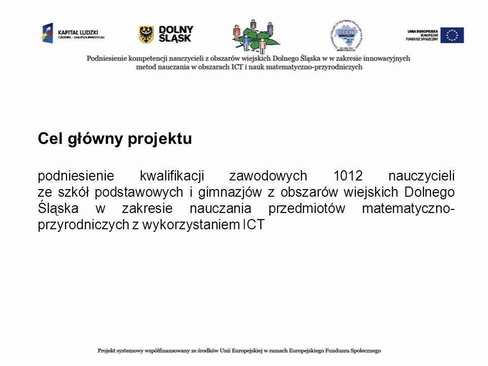 Cel główny projektu podniesienie kwalifikacji zawodowych 1012 nauczycieli ze szkół podstawowych i gimnazjów z obszarów wiejskich Dolnego Śląska w zakr