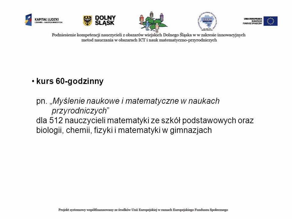 kurs 60-godzinny pn. Myślenie naukowe i matematyczne w naukach przyrodniczych dla 512 nauczycieli matematyki ze szkół podstawowych oraz biologii, chem