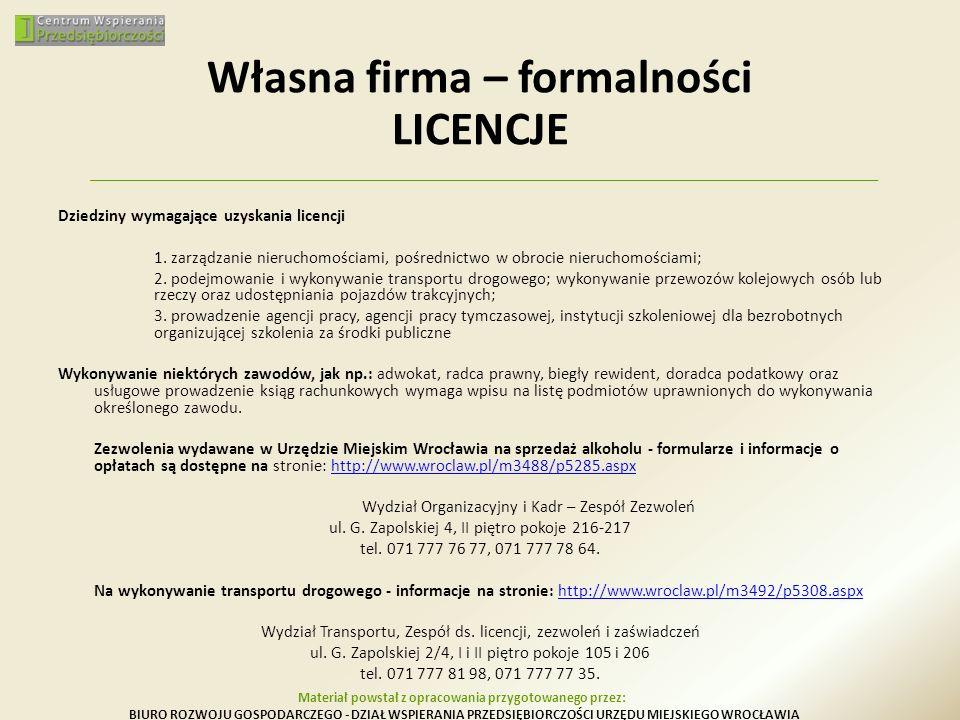 Dziedziny wymagające uzyskania licencji 1. zarządzanie nieruchomościami, pośrednictwo w obrocie nieruchomościami; 2. podejmowanie i wykonywanie transp