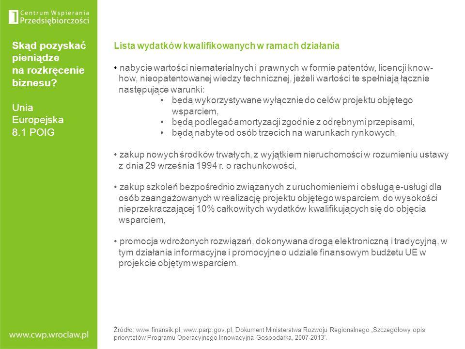 Skąd pozyskać pieniądze na rozkręcenie biznesu? Unia Europejska 8.1 POIG Lista wydatków kwalifikowanych w ramach działania nabycie wartości niemateria