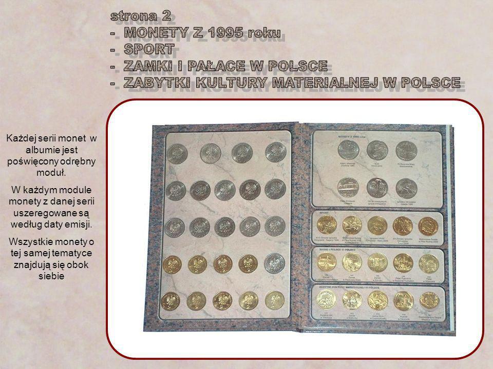 Każdej serii monet w albumie jest poświęcony odrębny moduł. W każdym module monety z danej serii uszeregowane są według daty emisji. Wszystkie monety