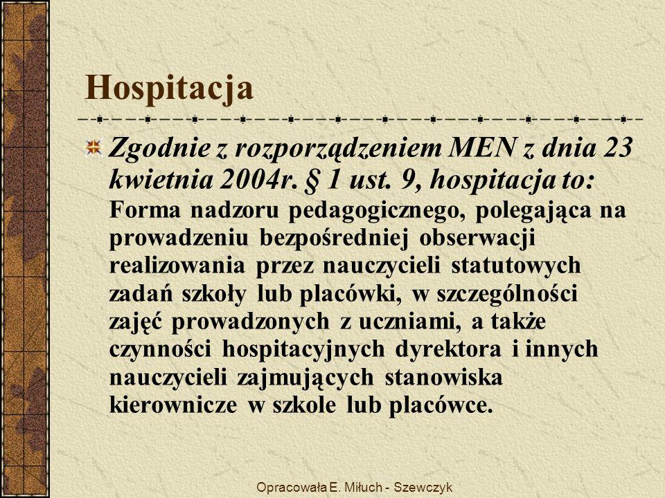 Opracowała E. Miłuch - Szewczyk Hospitacja Zgodnie z rozporządzeniem MEN z dnia 23 kwietnia 2004r.