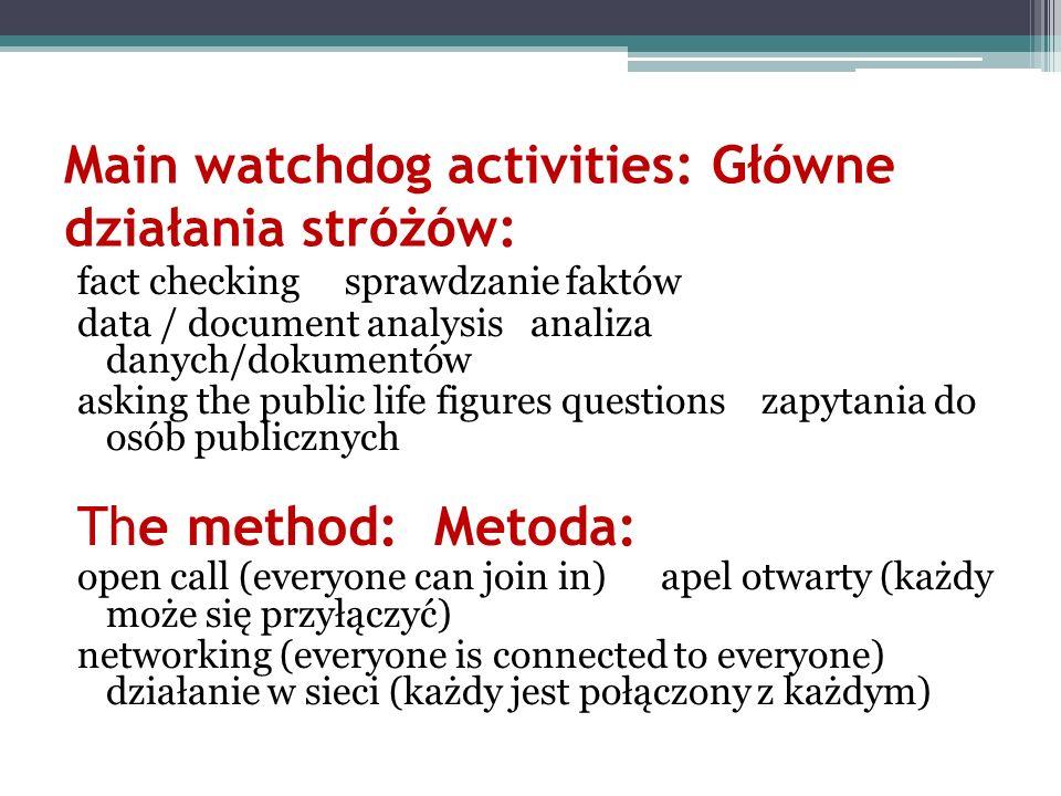 Main watchdog activities: Główne działania stróżów: fact checking sprawdzanie faktów data / document analysis analiza danych/dokumentów asking the pub