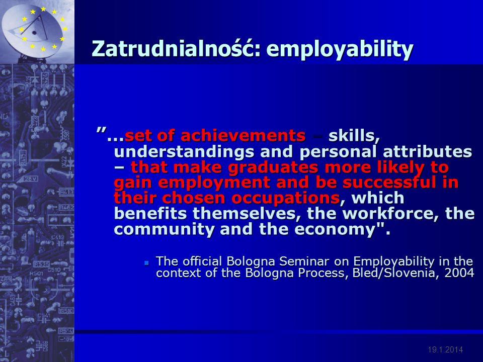 19.1.2014 Zatrudnialność: employability...set of achievements – skills, understandings and personal attributes – that make graduates more likely to ga