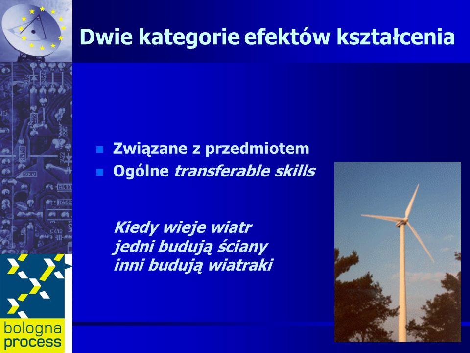 Dwie kategorie efektów kształcenia n n Związane z przedmiotem n n Ogólne transferable skills Kiedy wieje wiatr jedni budują ściany inni budują wiatrak