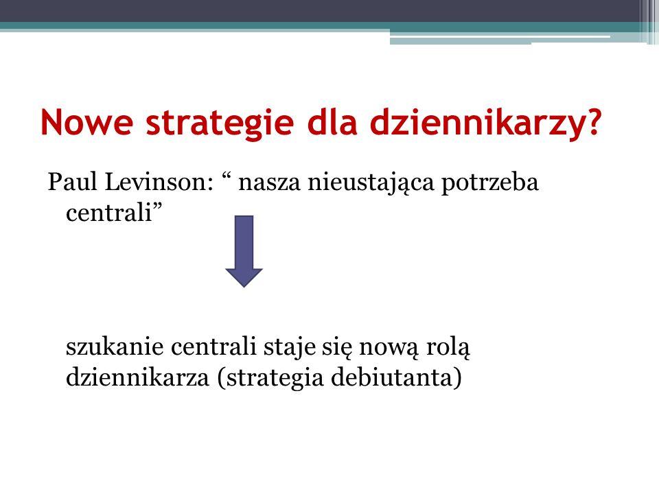 Nowe strategie dla dziennikarzy? Paul Levinson: nasza nieustająca potrzeba centrali szukanie centrali staje się nową rolą dziennikarza (strategia debi