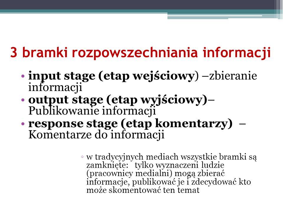 3 bramki rozpowszechniania informacji input stage (etap wejściowy) –zbieranie informacji output stage (etap wyjściowy)– Publikowanie informacji respon