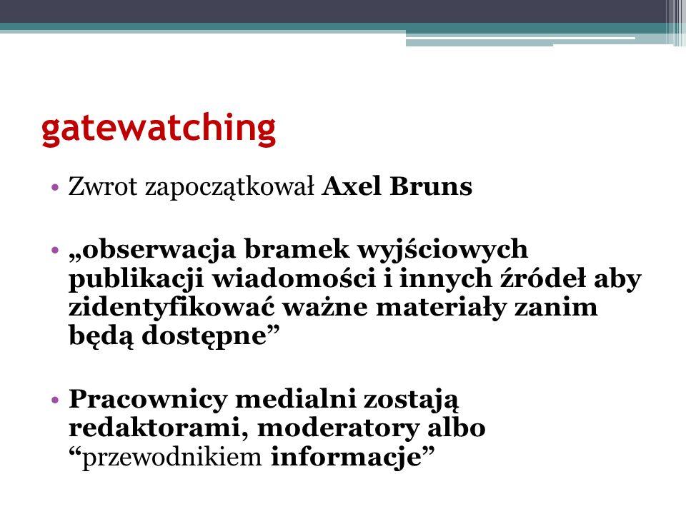 gatewatching Zwrot zapoczątkował Axel Bruns obserwacja bramek wyjściowych publikacji wiadomości i innych źródeł aby zidentyfikować ważne materiały zan